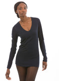 Navy Bamboo long sleeve vneck for women
