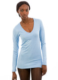 light blue bamboo long sleeve v neck for women's