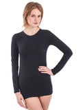 BLACK long sleeve crew neck jewel neck 100% bamboo shirt t-shirt Tania super soft chic extra long cut