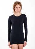 NAVY 70% Bamboo long sleeve crew neck longsleeve round neck 30% organic cotton navy blue deep midnight color great for dressing up or yoga athletic attire