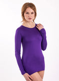 purple long sleeve bamboo shirt great for yoga women's 100% bamboo dark purple, vibrant and cut extra long