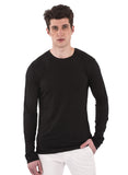 Black 100% Bamboo shirt mens long sleeve crew neck round neck