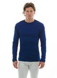 blue sapphire or cobalt 100% bamboo shirt for men crew neck