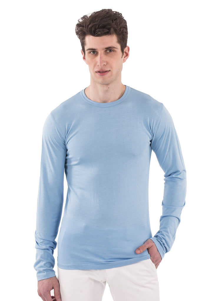 70% bamboo  30% organic cotton long sleeve longsleeve mens shirt crew neck