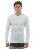White Long Sleeve Bamboo Crew Neck for men ivory