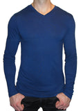 blue v-neck high mens long sleeve bamboo