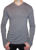 grey gray long sleeve mens bamboo high vneck