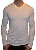 high v neck long sleeve white