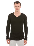 mens bamboo undershirt long sleeve v neck black