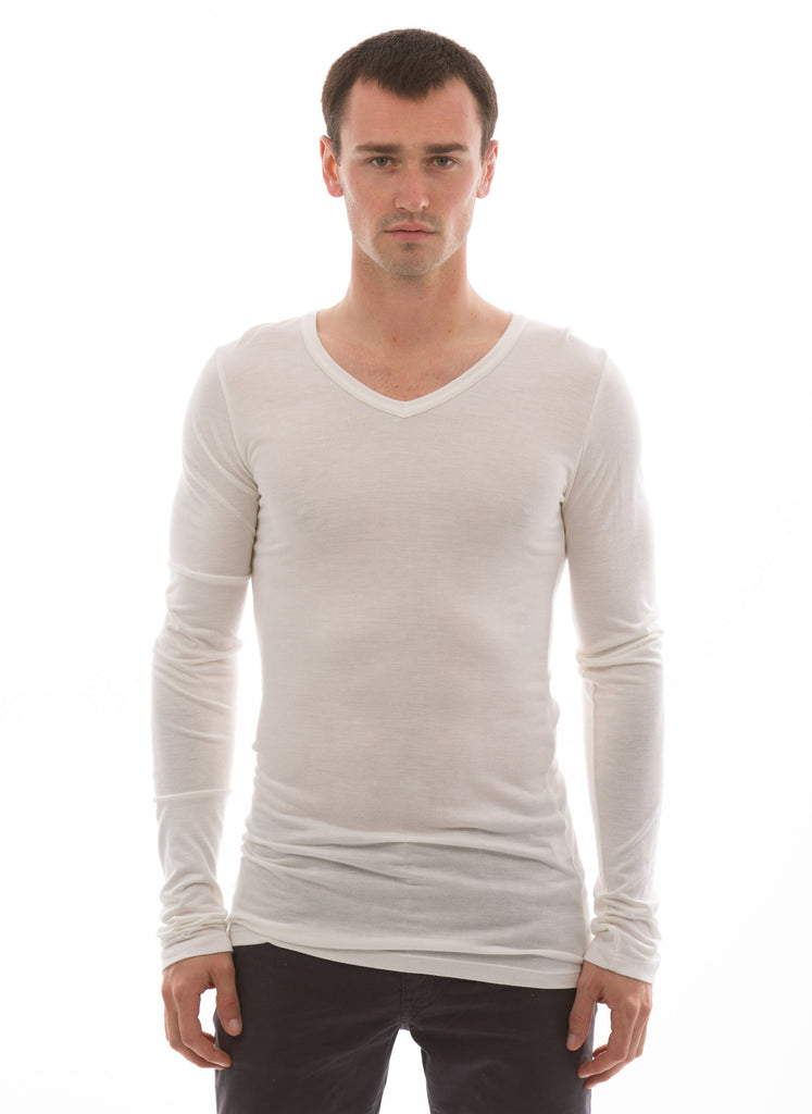 LONG SLEEVE V-NECK Mens bamboo undershirt