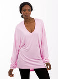 womens oversized bamboo v neck pink