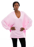 pink oversized bamboo shirt women's v neck