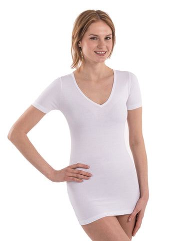100% Bamboo Women's Short Sleeve V-Neck