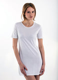 White Short Sleeve crew neck white women's bamboo shirt 100% bamboo Small not XS