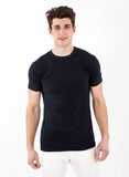 Navy Blue Crew Neck Bamboo shirt mens short sleeve shirtsleeve