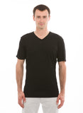 black short sleeve v neck tshirt for men 100% bamboo