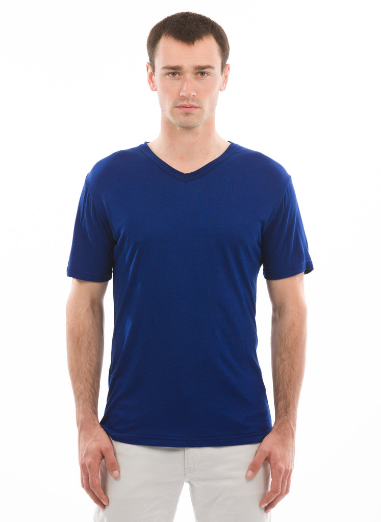 black 100% Bamboo mens v-neck short sleeve
