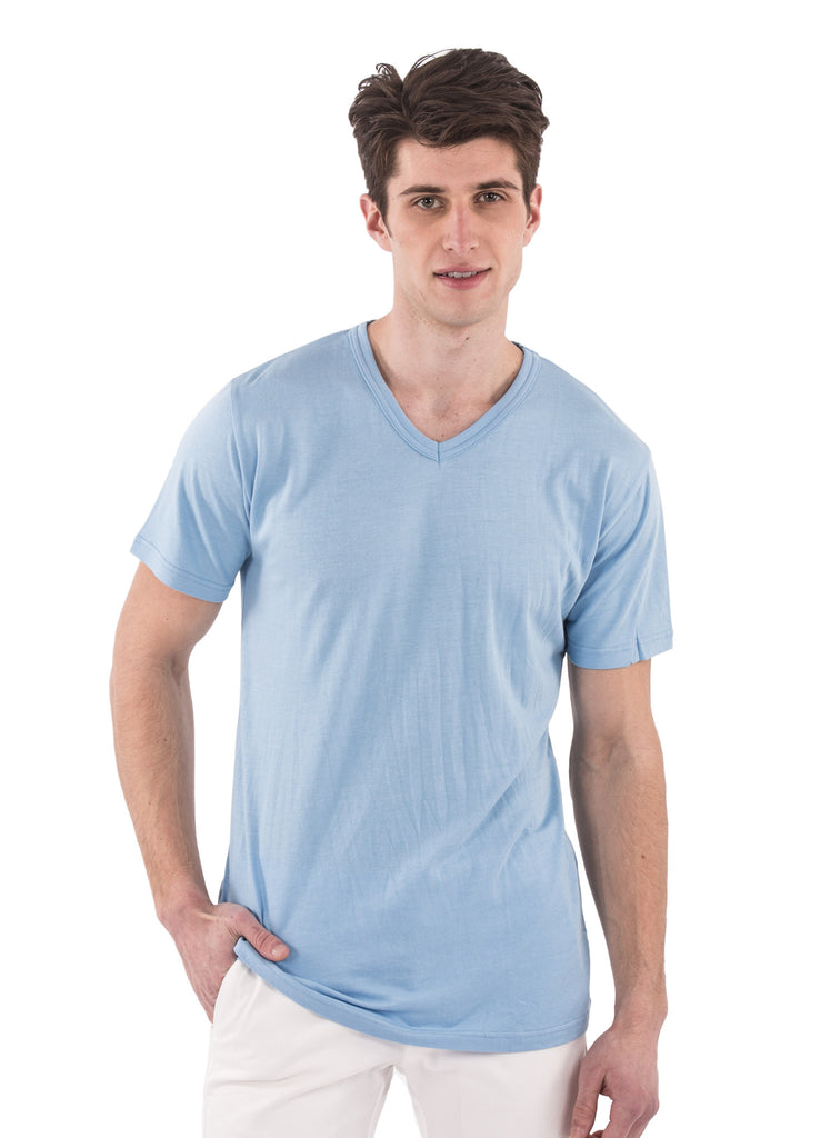 70% bamboo 30% organic cotton navy short sleeve v-neck tshirt shirt