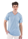 70% Bamboo light blue 30% organic cotton spring blue v-neck mens tshirt shirt short sleeve