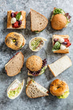 Selection of artisan sandwiches, wraps, baguettes, mini lunch rolls