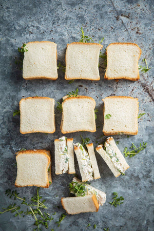 Poached chicken, lemon mayo, soft herbs mini sandwich