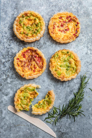 Streaky bacon, smoked cheddar savoury lunch tart