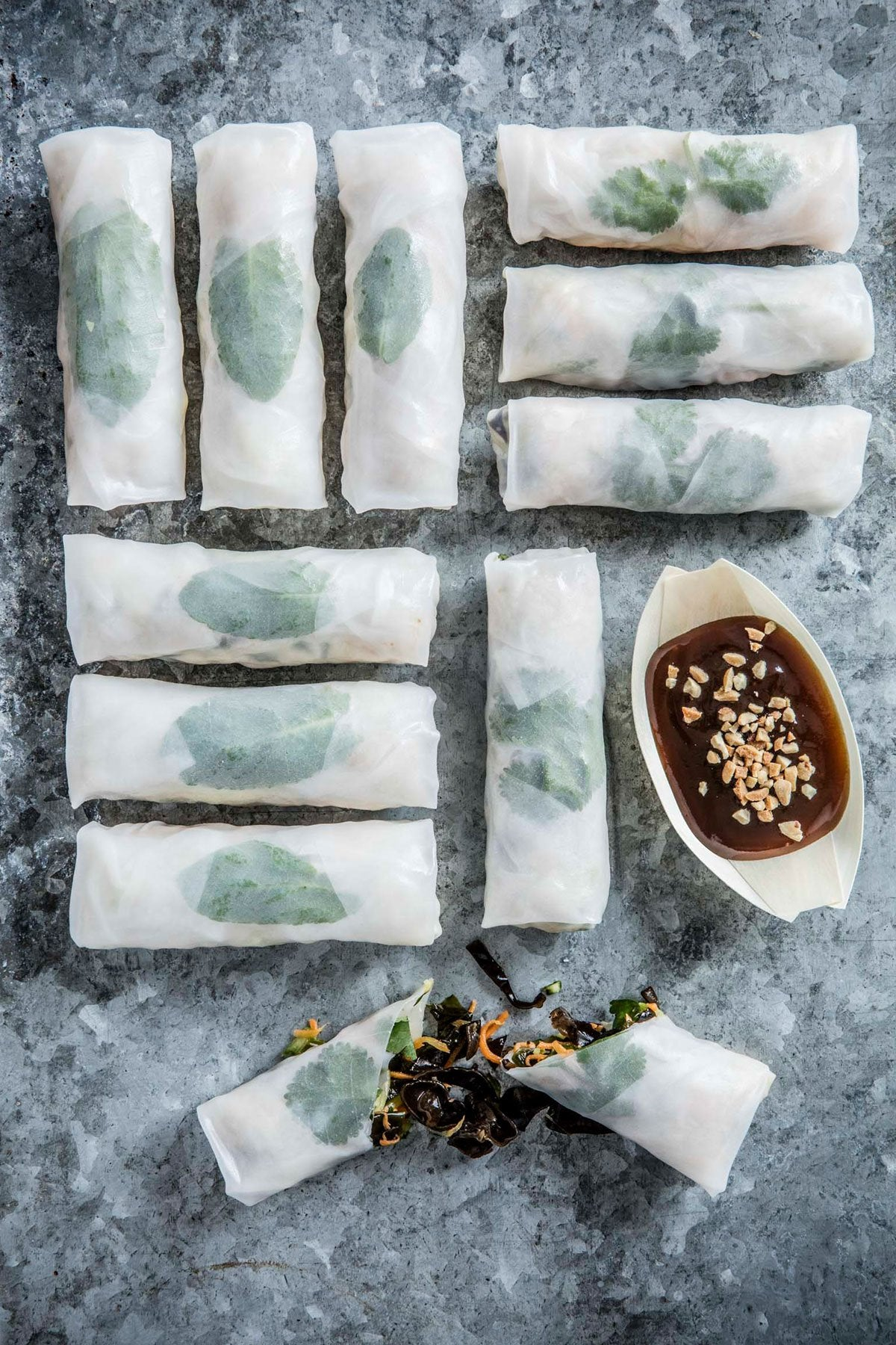 5 spice duck, hoisin, spring onion rice paper wrap