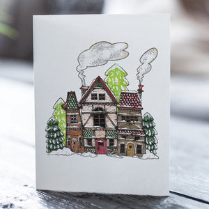Snowy Houses Card Pack