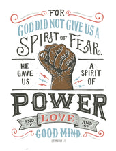 Load image into Gallery viewer, 2 Timothy 1:7 Spirit of Power Dark Hand