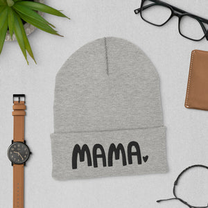 A winter hat in a light grey color featuring the word Mama with a small heart at the end of the word. This cozy beanie is a perfect gift for moms.