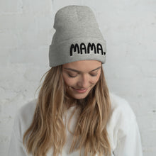 Load image into Gallery viewer, A woman wearing a light grey beanie hat with the word Mama in black lettering with a small heart after the word. This hat is a lovely gift for mothers.
