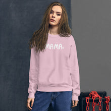 Load image into Gallery viewer, This light pink sweatshirt features the word Mama in white lettering with a small white heart after the word. The sweatshirt makes a fun mother's day gift.