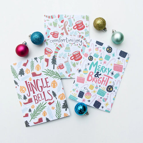 Merry & Bright Christmas Cards Pack of 12