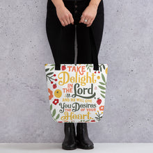 Load image into Gallery viewer, Take Delight in the Lord Tote Bag