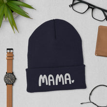 Load image into Gallery viewer, A navy color beanie hat featuring the word Mama with a small heart at the end of the word. The winter hat makes a fun gift for mom.