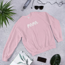 Load image into Gallery viewer, A cozy sweatshirt with the word Mama in white with a small heart. The sweatshirt is light pink.