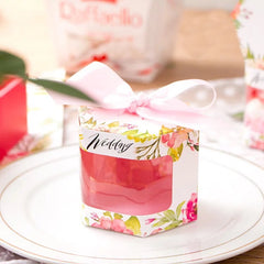 Pink floral gift box with window