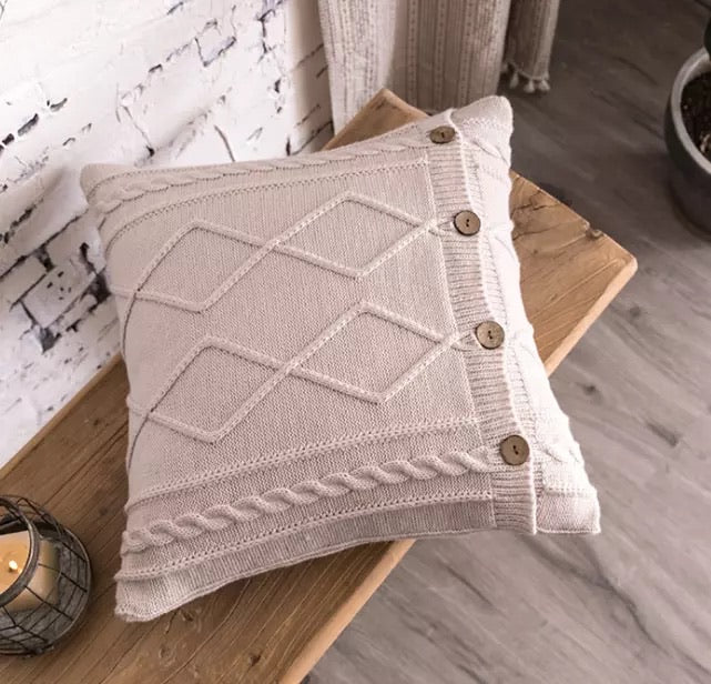 Textured Soft Knitted Cushion Pillow 45cm