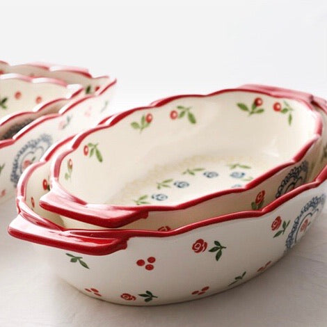 Rose Handpainted Ceramic Baking Oval Tray
