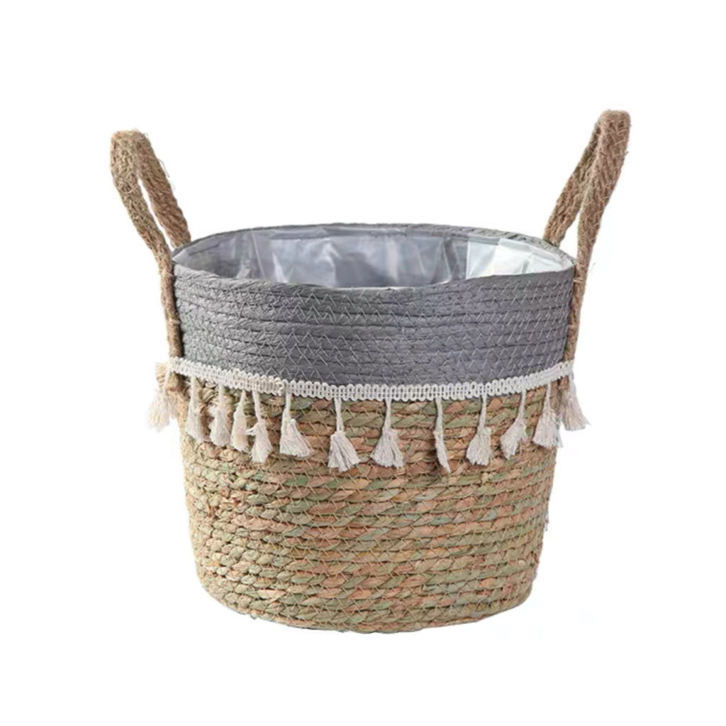 Grey Woven Basket Planter with Tassle