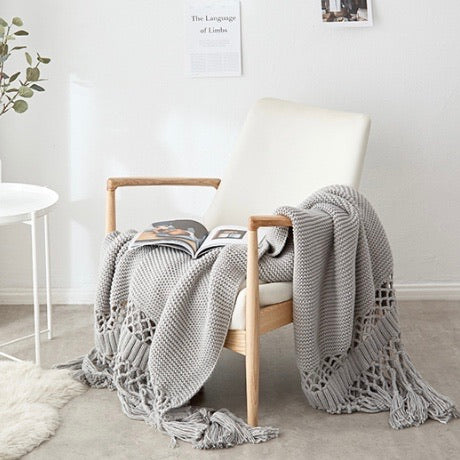 Knitted Sofa Throw Blanket with Tassle 180cm