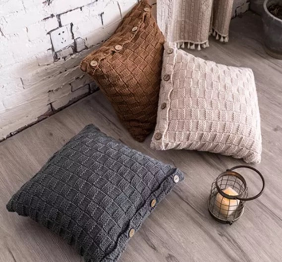 Checkered Knitted Cushion Pillow 45cm