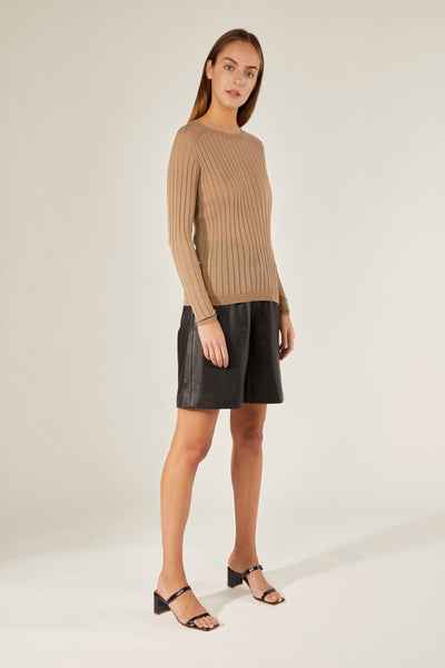 CRUSH | 21PRE | Sheer Ribbed Crew-Neck Top