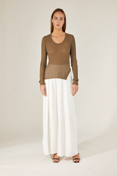 CRUSH | 21PRE | Sheer Ribbed U-Neck  Top