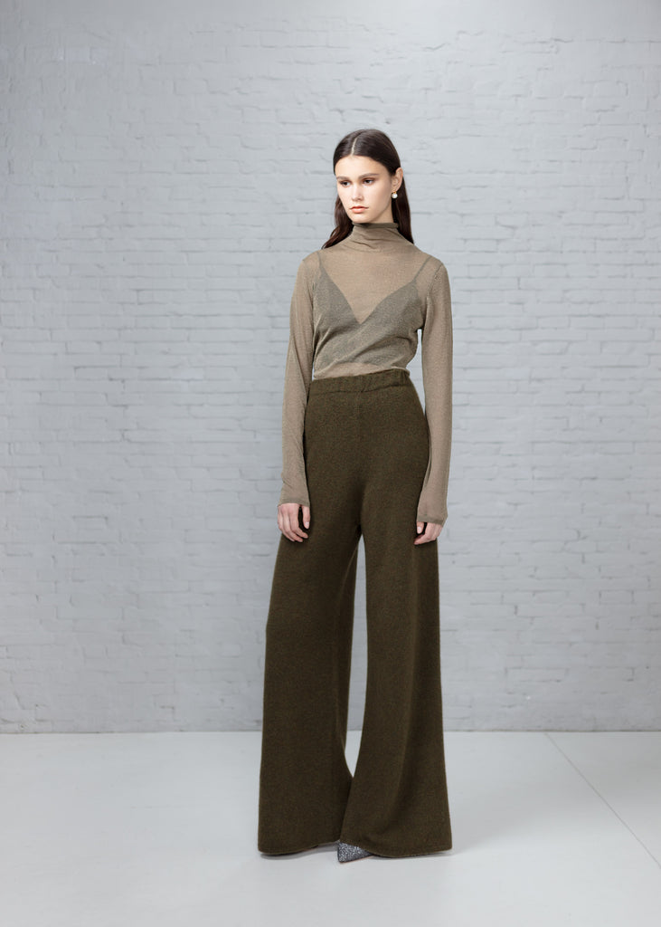 Cashmere Fleece Wide Leg Pants