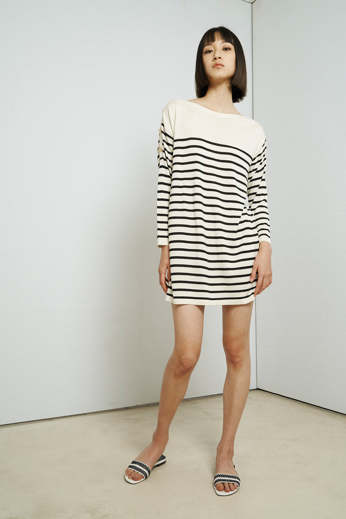 Striped silk and cashmere-blend round-neck dress