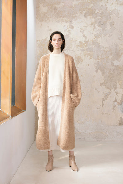 Fluffy Cardi Coat Wool Cashmere Blend
