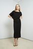 Asymmetric boat neck silk  midi dress