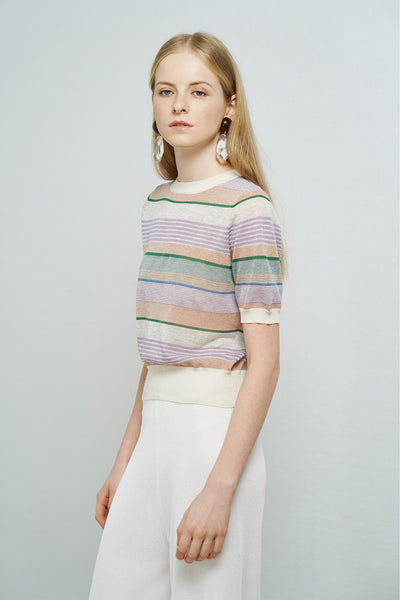 Multicolour- strips metallic top