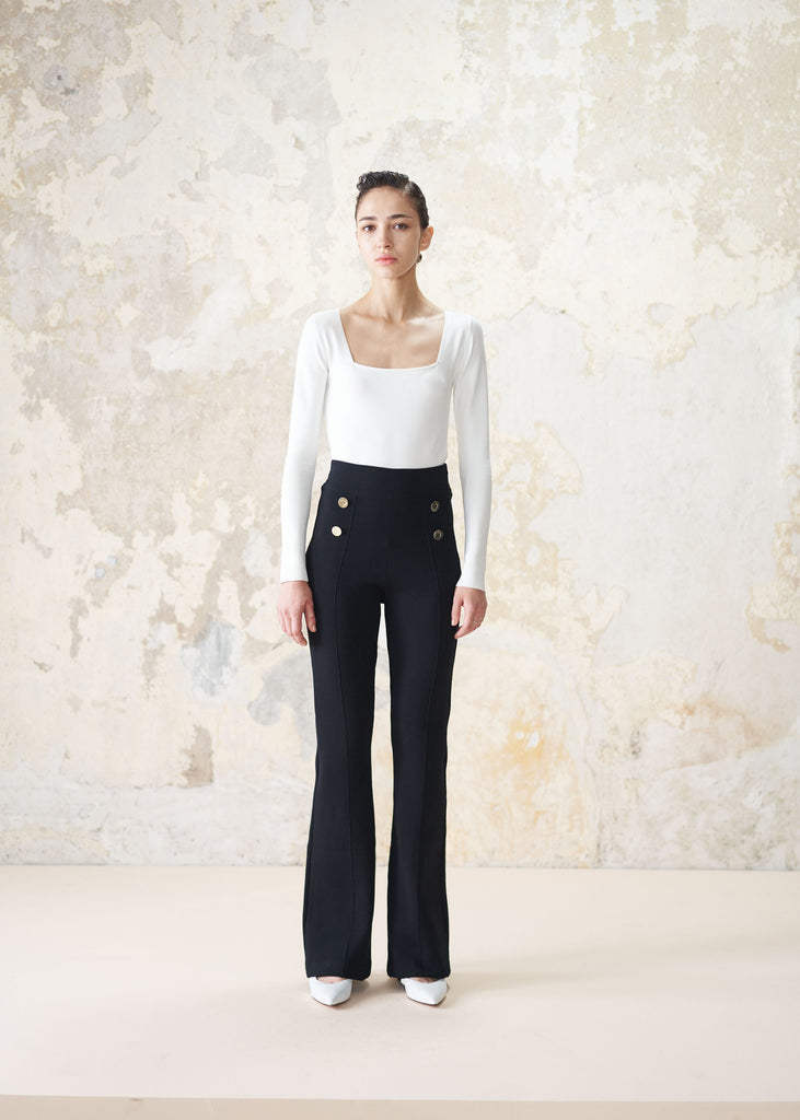 High-rise flared knit pants